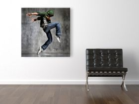 Canvas Wall Art Dancer, Glowing in the dark, 80 x 80 cm