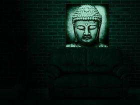 Canvas Wall Art Buddha, Glowing in the dark, 80 x 80 cm