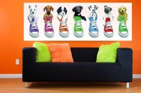 Canvas Wall Art Puppies in baskets, Glowing in the dark, 40 x 120 cm
