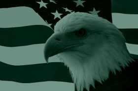 Canvas Wall Art American eagle on the flag, Glowing in the dark, 60 x 90 cm