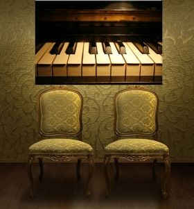 Canvas Wall Art The perfect piano, Glowing in the dark, 80 x 120 cm