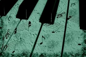 Canvas Wall Art Vintage piano, Glowing in the dark, 60 x 90 cm