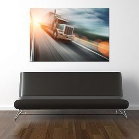Canvas Wall Art Speed truck, Glowing in the dark, 60 x 90 cm