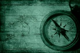 Canvas Wall Art Old map with compass, Glowing in the dark, 80 x 120 cm