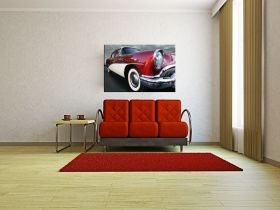 Canvas Wall Art The retro car hangs, Glowing in the dark, 80 x 120 cm