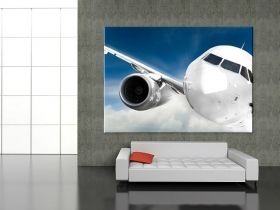 Canvas Wall Art Airplane in the sky, Glowing in the dark, 60 x 90 cm