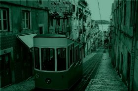 Canvas Wall Art Tram in Lisbon, Glowing in the dark, 80 x 120 cm