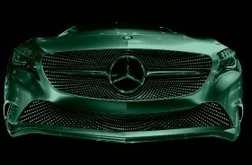 Canvas Wall Art Mercedes Benz concept car, Glowing in the dark, 80 x 120 cm