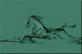 Canvas Wall Art Horse from the water, Glowing in the dark, 60 x 90 cm