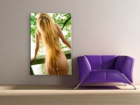 Canvas Wall Art Long and blond hair, Glowing in the dark, 60 x 90 cm