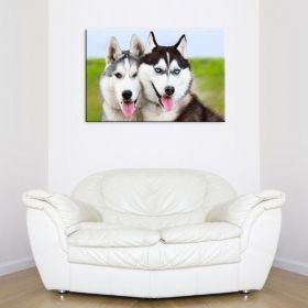 Canvas Wall Art Pair of Husky, Glowing in the dark, 60 x 90 cm