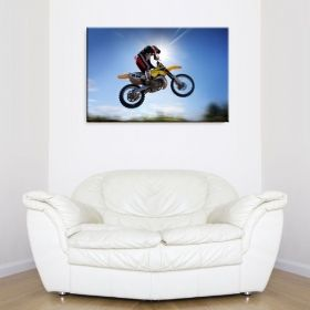 Tablou Motocross in aer, luminos in intuneric, 80 x 120 cm