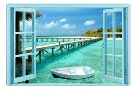 Canvas Wall Art The window to the aquatic paradise, Glowing in the dark, 60 x 90 cm