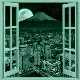 Canvas Wall Art Window to the moon, Glowing in the dark, 80 x 80 cm