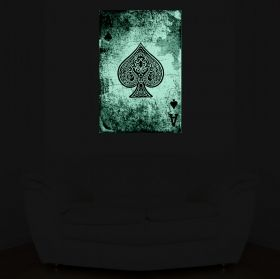 Tablou Poker Asul de Pica, luminos in intuneric, 60 x 90 cm