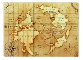 Canvas Wall Art Old world map, Glowing in the dark, 60 x 90 cm