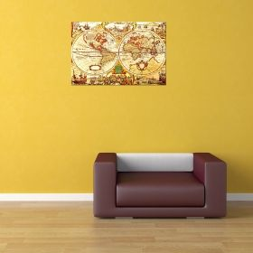 Canvas Wall Art World Map Love, Glowing in the dark, 80 x 120 cm