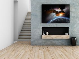 Canvas Wall Art Galactica Battle, Glowing in the dark, 80 x 120 cm
