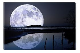 Canvas Wall Art Full moon in water, Glowing in the dark, 80 x 120 cm