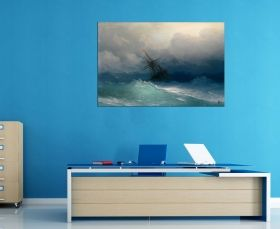 Canvas Wall Art Aivazovschy Ship On Stormy Seas, Glowing in the dark, 60 x 90 cm