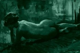 Canvas Wall Art Arnold Beavais Reclining Nude, Glowing in the dark, 80 x 120 cm