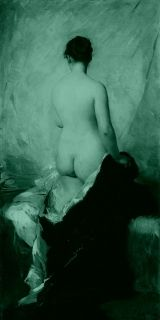 Canvas Wall Art Charles Joshua Chaplin - Nude From The Back, Glowing in the dark, 60 x 120 cm
