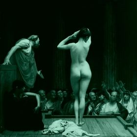 Canvas Wall Art Jean Leon Gerome - Sale of slaves to Rome, Glowing in the dark, 80 x 80 cm