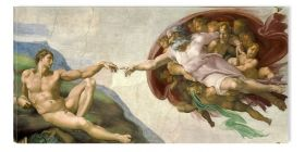 Canvas Wall Art Michelangelo The Creation Of Adam 1514, Glowing in the dark, 60 x 120 cm
