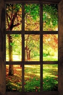 Canvas Wall Art Window to a sunny morning, Glowing in the dark, 80 x 120 cm