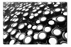 Canvas Wall Art Black and white drums, Glowing in the dark, 80 x 120 cm