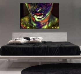 Canvas Wall Art Sexy woman painted colorful, Glowing in the dark, 80 x 120 cm