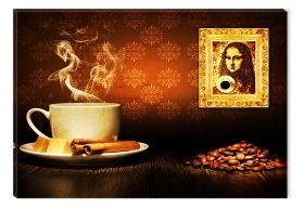 Tablou Cafea Mona Lisa, luminos in intuneric, 80 x 120 cm