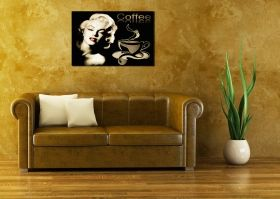 Canvas Wall Art Coffee Marilyn Monroe, Glowing in the dark, 80 x 120 cm