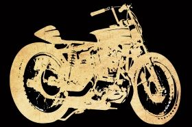 Tablou Motocicleta retro, luminos in intuneric, 60 x 90 cm