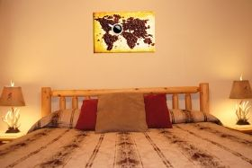 Canvas Wall Art Coffee map, Glowing in the dark, 60 x 90 cm