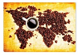 Canvas Wall Art Coffee map, Glowing in the dark, 80 x 120 cm