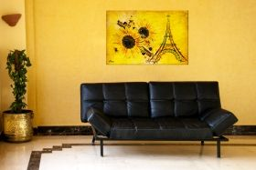Tablou Paris galben, luminos in intuneric, 60 x 90 cm
