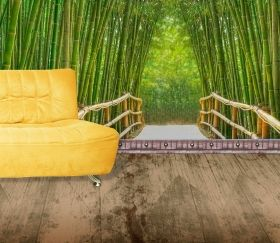 Mural Wall Art Bamboo Alley, Glowing in the dark, 3.66 x 2.56 m