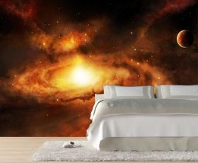 Mural Wall Art Nebula Galaxy, Glowing in the dark, 3.66 x 2.56 m