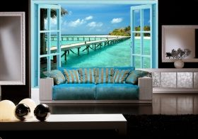 Mural Wall Art The window to the aquatic paradise, Glowing in the dark, 3.66 x 2.56 m