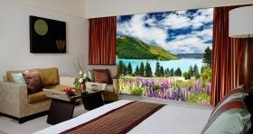 Mural Wall Art Flower carpet to the lake, Glowing in the dark, 1.83 x 1.28 m