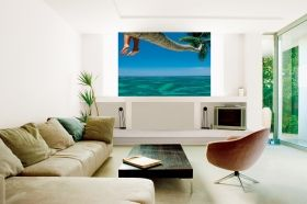 Mural Wall Art Palm on the beach, Glowing in the dark, 1.83 x 1.28 m