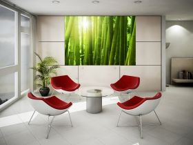 Mural Wall Art Green bamboo, Glowing in the dark, 1.83 x 1.28 m