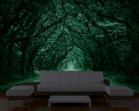 Mural Wall Art Tree tunnel, Glowing in the dark, 3.66 x 2.56 m