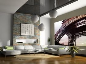 Mural Wall Art Eiffel Tower, Glowing in the dark, 3.66 x 2.56 m