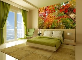 Mural Wall Art Red leaves, Glowing in the dark, 3.66 x 2.56 m