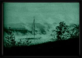 Luxury Framed Wall Art Boat on Elba, Glowing in the dark, 70 x 100 cm