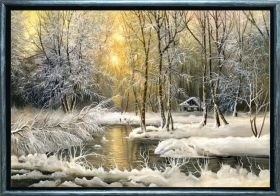 Luxury Framed Wall Art Winter on the lake, Glowing in the dark, 70 x 100 cm