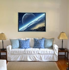 Luxury Framed Wall Art Blue World, Glowing in the dark, 50 x 70 cm