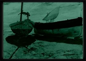 Luxury Framed Wall Art Fishing boats, Glowing in the dark, 70 x 100 cm